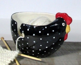 Hen yarn bowl Gift knitter Knitting bowl Ready to ship
