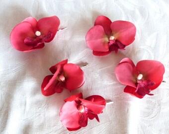 Tea berry Orchid hair fascinators hot pink hair pins real touch phalaenopsis orchid hair clips bridal hair clip tropical fascinator