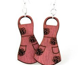 Apron Wood Earrings - Love Cooking - Made in USA