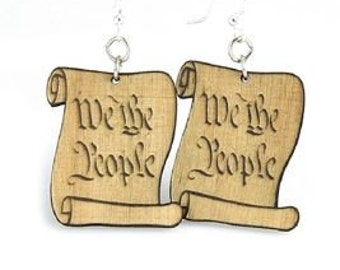 We The People - wood earrings - Support Liberty