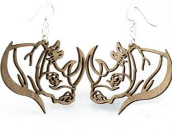 Rhinoceros - Laser Cut Wood Earrings