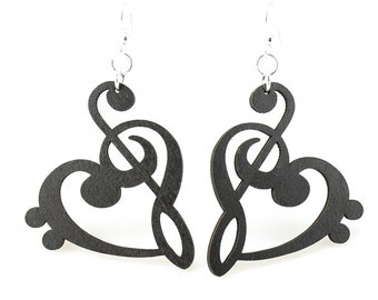 Treble Bass Clef Heart - Wood Earrings