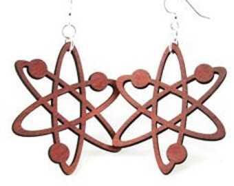 Atom Structure Earrings made from Laser Cut Wood