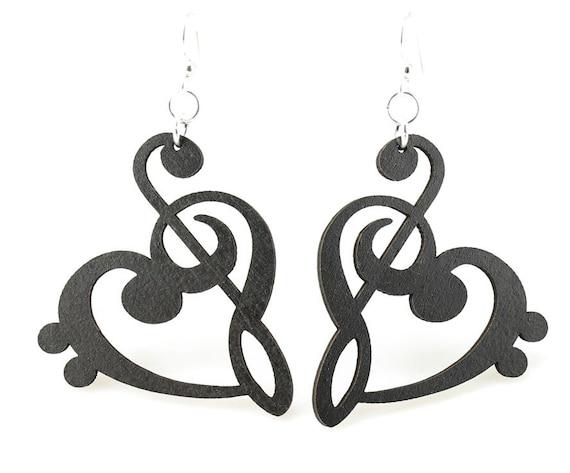 Treble Bass Clef Heart - Wood Earrings