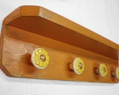 Primitive Wood Shelf Ceramic Sunflower Knobs, Shabby Chic, French Country, Sunflower Kitchen Decor