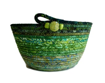 Coiled Rope Basket in Grass Green - Ombre Summer Clothesline Basket - Organizer Bowl - Irish Decor - Functional Fiber Art - Quilted Decor