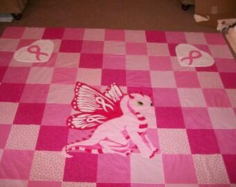 Queen breast cancer survivor quilt