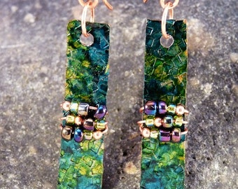 Hand Colored Copper Earrings with Peacock Color Glass Beads.  Blues and Greens.