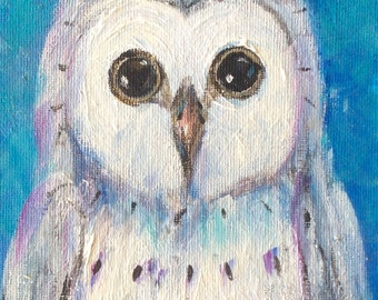 Owl 7 Painting bird painting original art 7 x 5""