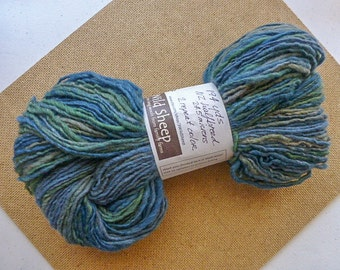 Handspun Yarn from NZ speciality flock: Muted Greens and Blues.  194 yds (#210)
