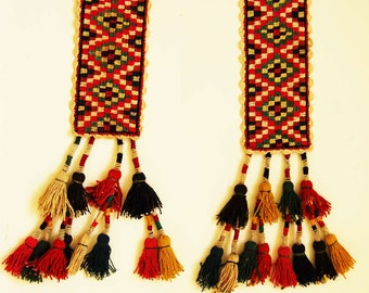 2 Uzbek vintage cotton handmade pendant tassels home decor