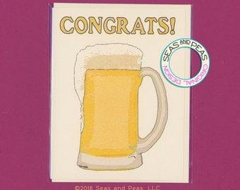 MUG O BEER CONGRATS - Congratulations Card - Congrats - College Grad - Graduation - Graduation Card - Congrats Card - Beer - Item# C038