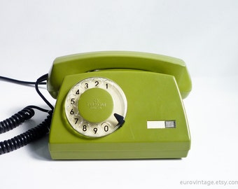 Vintage Green Rotary Phone Dial Telephone 80s