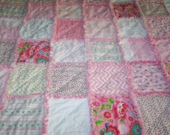 Small Rag Quilt - Baby Rag Quilt- Shabby Chic Rag Quilt - Pink Rose Rag Quilt - Patchwork Rose Rag Quilt - Crib Rag Quilt