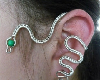 Snake Ear Cuff - Earring with one piercing on earlobe