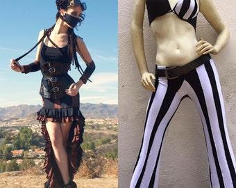 Gothic Skirt - Steampunk Skirt - Striped Skirt - Beetlejuice Pants - Gothic Pants - Steampunk Pants - Made to Order - Two Order Deal