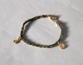 Gold and Green Leather Charm bracelet