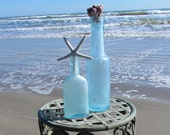 Set of Two Vintage Antique Aqua Blue Bottles with Starfish and Barnacles