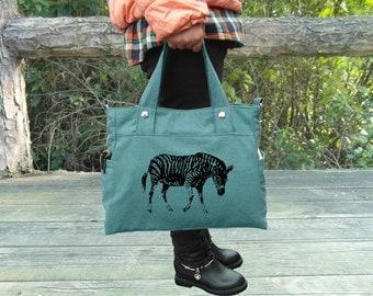 Screen print teal green canvas messenger bag / shoulder bag / laptop bag / brief case / diaper bag / tote bag / travael bag