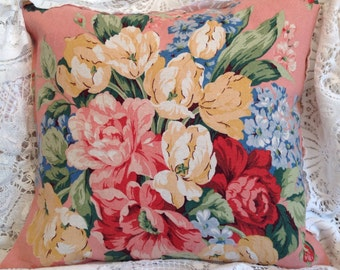 PINK cabbage Rose pillow cover VINTAGE Waverly fabric GORGEOUS colors