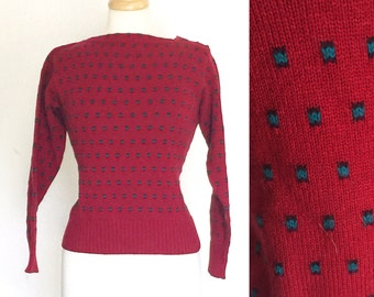Vintage red green square buttoned neck sweater
