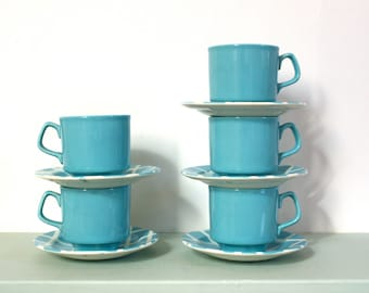 Vintage Retro Teaset in Sky Blue Check Pattern by Tams of England