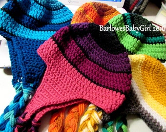 Buggs Crochet Striped Ear Flap Hat in Assorted Color with Coordinating Braided Cord - Customize Your Colors