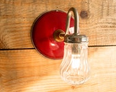 4 Wall mounted Lamp, Red wall lamp, Enamel lamp, Handmade lamp, Mason jar light, Cool lamp, Wall lighting, Steampunk lamp, Industrial lamp