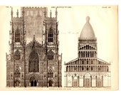 York Cathedral Pisa Cathedral Antique Book Plate Print 1878 - Vintage Book Illustration Decor, Architecture, Collage, Art, Craft Supplies