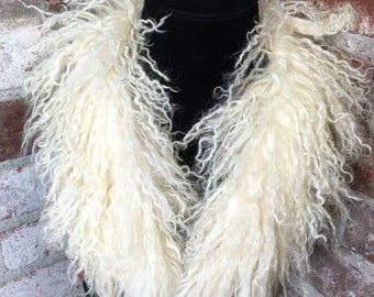 Vintage 60s 70s Genuine Shag Fur Collar Scarf Wrap