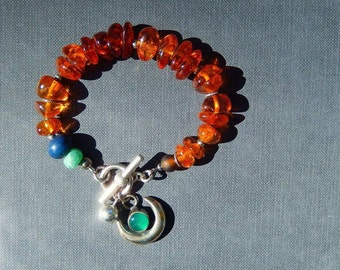 Honey Amber Bracelet with Sterling Silver Crescent and Blue Green Gemstones, Rustic Jewelry Trends, Unique Gift for Her, Jewelry Trends