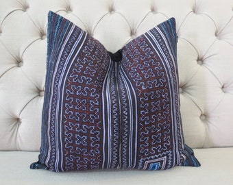 Vintage Cross stitch Hmong cushion cover, Handwoven Hemp Fabric,Decorative Cushion,Throw Pillow,Decorative Pillows