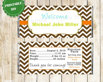 Candy Bar Wrapper Printable Personalized Baby Boy Shower Candy Bar Labels - Printable Stickers Brown Chevron Shower Decoration