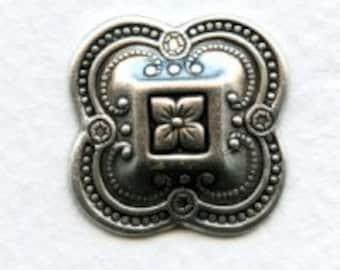 LuxeOrnaments Oxidized Sterling Silver Quatrefoil Stampings (2pcs) 20mm U346-VJS