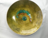 "Vintage Green and Aqua 9"" Enamel Bowl"