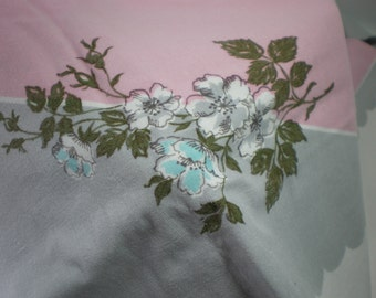 Vintage Pink and Gray Flowered Tablecloth
