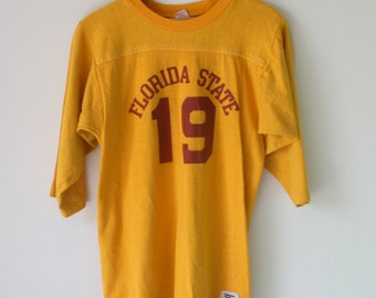 1970s Vintage FLORIDA STATE Football College Sweatshirt....quarter sleeves. football. sports. NFL. college football. 1970s 1980s. medium
