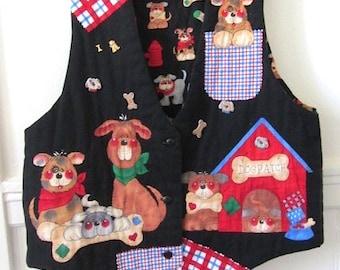 Vintage Dog Lovers Vest, hand made vest, fun dog vest, cotton vet vest, dog breeders vest, dog show vest, dog walkers vest,animal lover vest