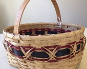 SALE - Save 20% - Handmade Large Williamsburg Basket - Oak, Navy and Maroon