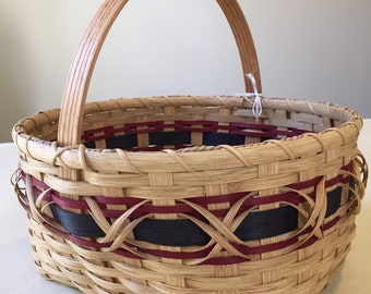 Handmade Large Williamsburg Basket - Oak, Navy and Maroon