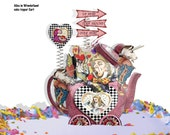 printable Alice and Wonderland cake topper, Card, collage sheet Mad Hatter And white rabbit craft project