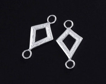 2 of 925 Sterling Silver Textured Diamond shaped Links , Connectors 8x11mm.  :tm0038
