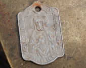Antique religious aluminum charm the Virgin Mary and Jesus Christ