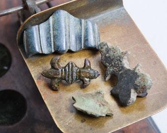 Lot of 4 antique parts, plates, connectors, findings, parts, dark  patina