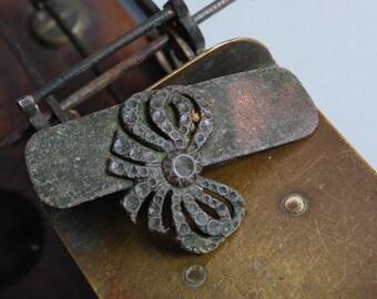 Antique brass plate, part of buckle, original patina, original Art Nouveau style decor