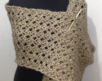 "Hand Crocheted Lacy Wrap, Stole, Shawl in Homespun ""Rococco"" Yarn"