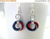 SPRING SALE Multicolored Mobius Chain Maille Earrings