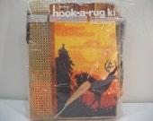 """Vintage Malina Hook-A-Rug Kit 24""""X30"""" Deer Silhouette/Latch Hook Kit"""