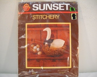 Sunset Stitchery Country Goose New In Package Kit