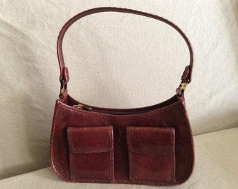 Vintage Cole Haan Burgundy Leather Shoulder Handbag / on sale